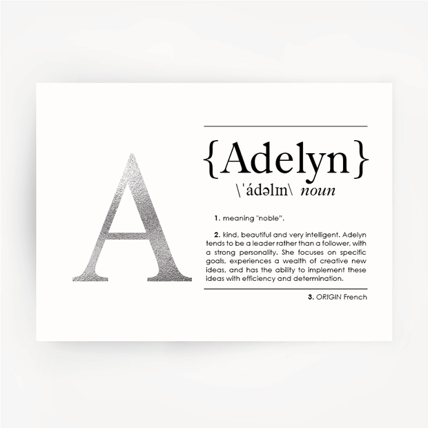Name Definition Art Print ADELYN Silver