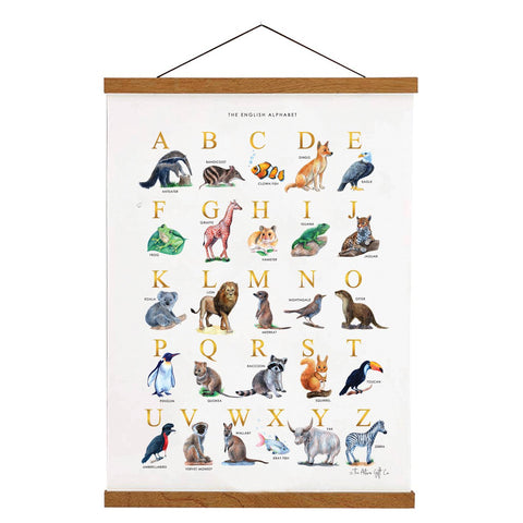 Alphabet Chart with Wooden Hanger