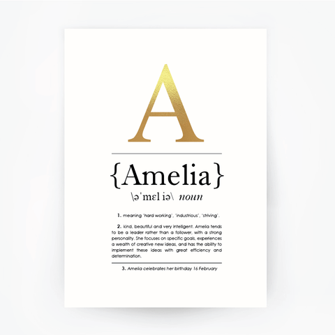 Name Definition Foil Print Portrait