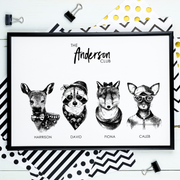 FAMILY Name Personalised Hipster Animal Print