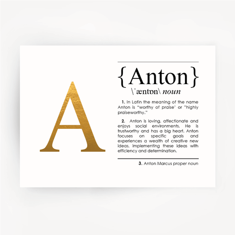 Name Anton Definition Art Gold Foil Print