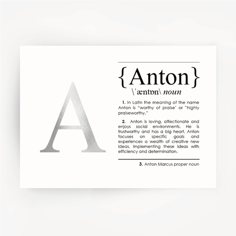 Name Definition Art Silver Foil Print ANTON