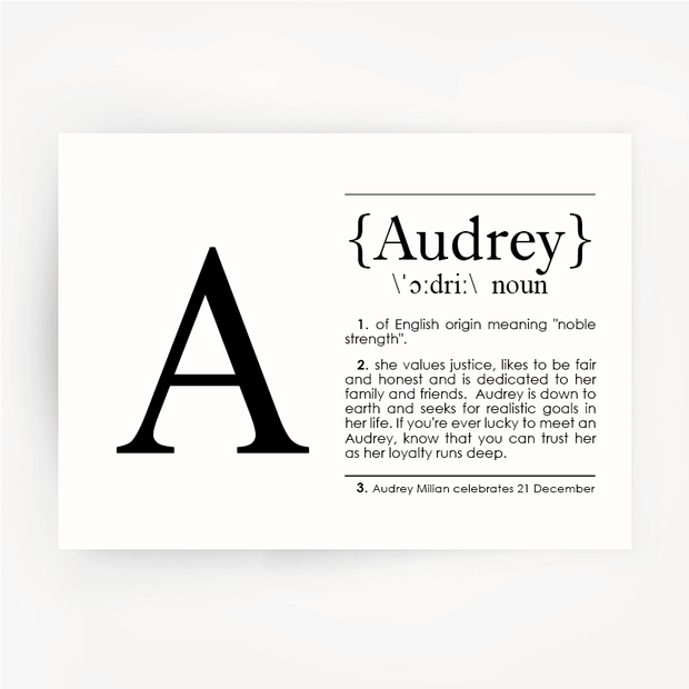 Name Definition Black Print AUDREY
