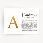 Name Definition Gold Foil Print AUDREY