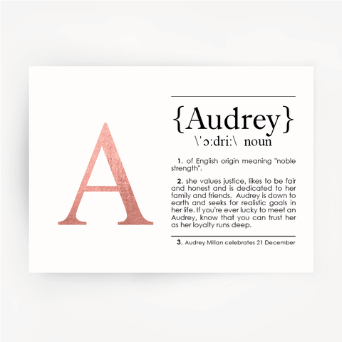 Name Definition Rose Gold Foil Print AUDREY