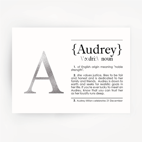 Name Definition Silver Foil Print AUDREY