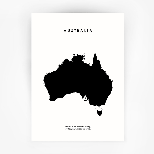 Map AUSTRALIA Art Black Print - Bushfire Disaster Appeal