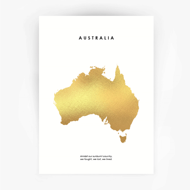 Map AUSTRALIA Art Gold Foil Print - Bushfire Disaster Appeal