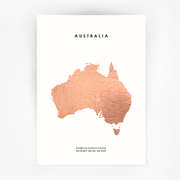 Map AUSTRALIA Art Rose Gold Foil Print - Bushfire Disaster Appeal