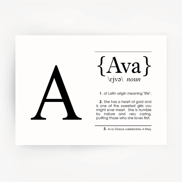 Name Definition Art Black Print AVA