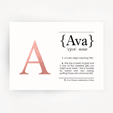 Name Definition Art Rose Gold Foil Print AVA