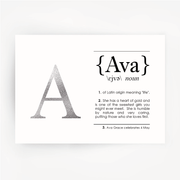 Name Definition Art Silver Foil Print AVA