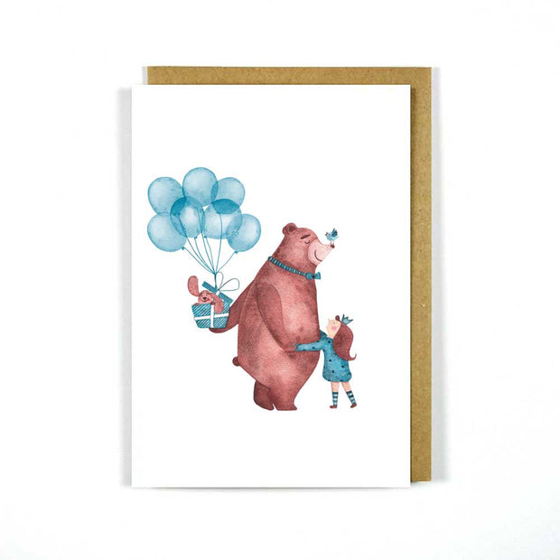 Greeting Card Girl Bear Balloon