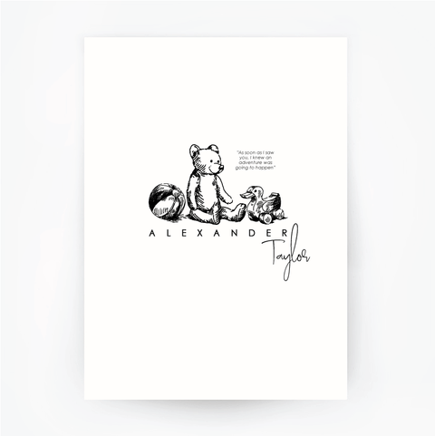Children's Customised Name Print BEAR
