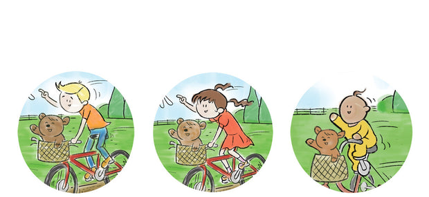 Storybook Cushion Personalised - Bicycle Child Options