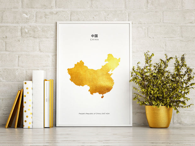 Map CHINA Art Foil Print