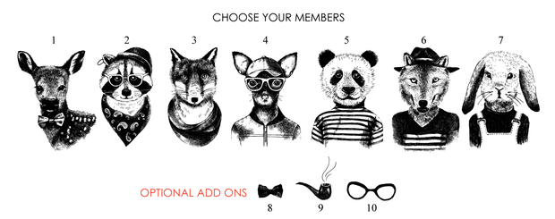 FAMILY Name Personalised Hipster Animal Print Members