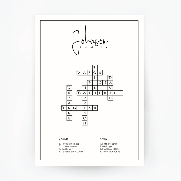 FAMILY Name Crossword Print Black Frame