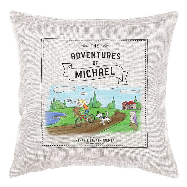 Storybook Cushion Personalised - Bicycle