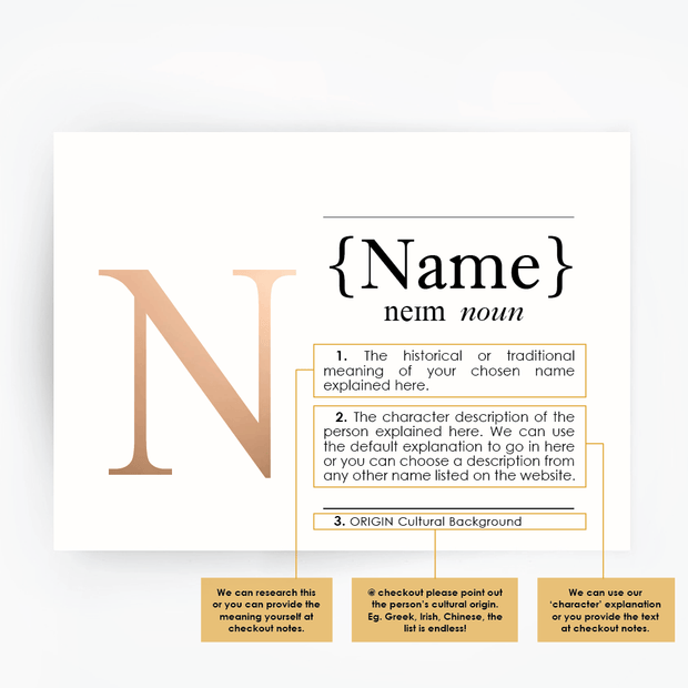 CUSTOM Name Definition Print Rose Gold