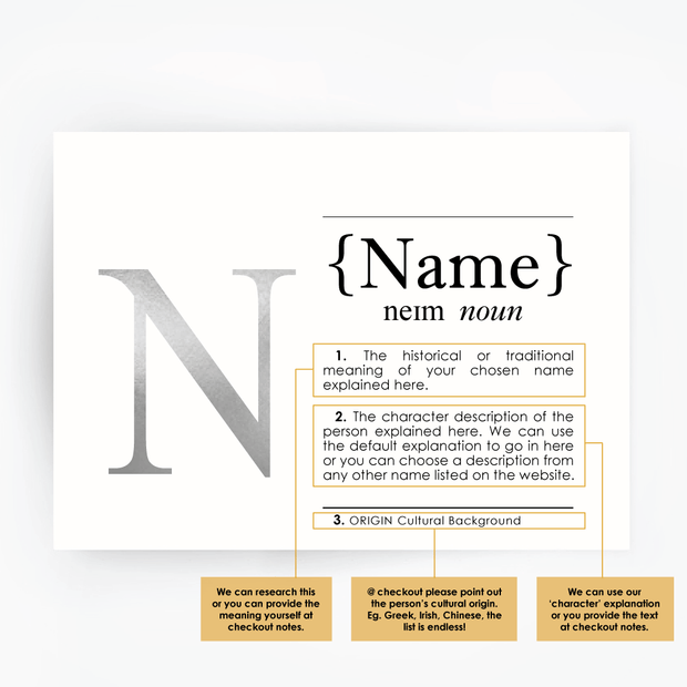 CUSTOM Name Definition Print Silver