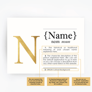 CUSTOM Name Definition Print Gold