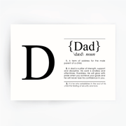 DAD Definition Art Print Black