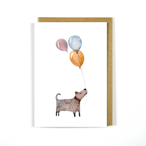 Greeting Card Dog Balloons