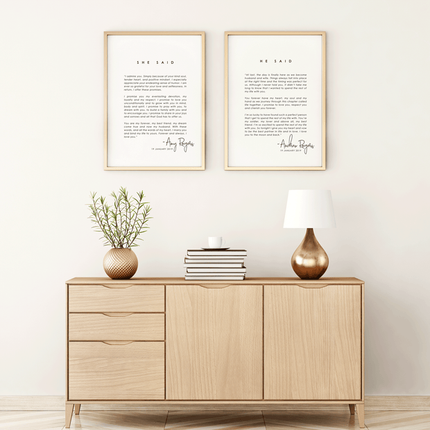 Vows Customised Keepsake Print Living Room