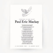 Dove Memorial Print Customised Silver
