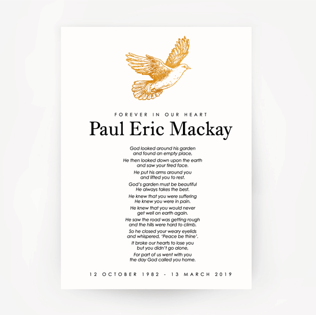 Dove Memorial Print Customised Gold