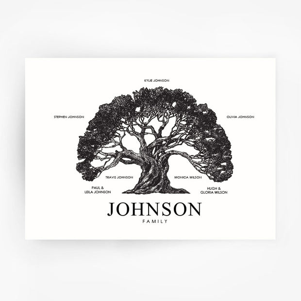 Family Tree Print Custom Black