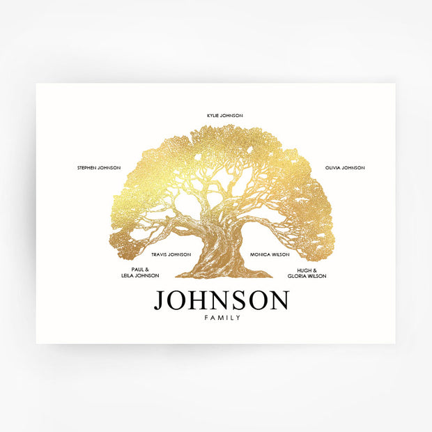 Family Tree Print Custom Gold Foil
