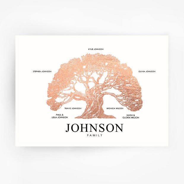 Family Tree Print Custom Rose Gold Foil