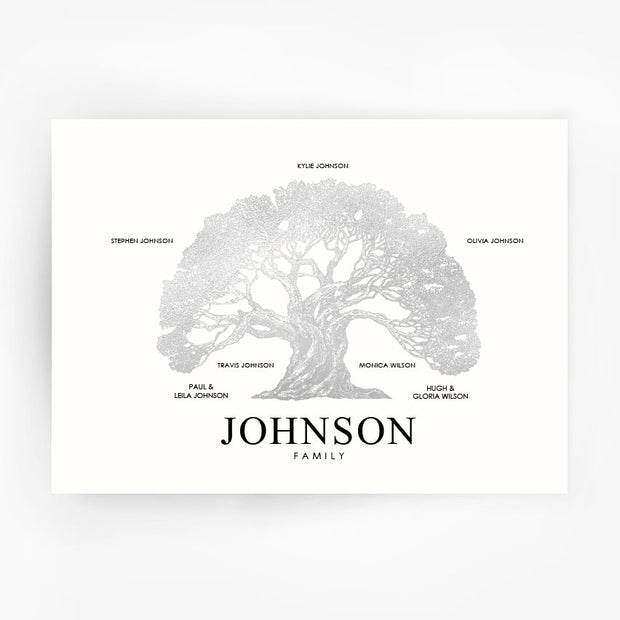 Family Tree Print Custom Silver Foil