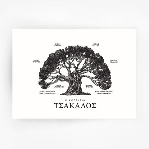 Greek Family Tree Black Print