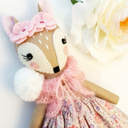 Heirloom Hand Made Fabric Doll Fawn Rose Close Up
