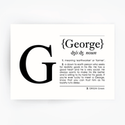 Name Definition Art Print GEORGE Black