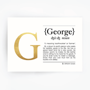 Name Definition Art Print GEORGE Gold