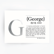 Name Definition Art Print GEORGE Silver
