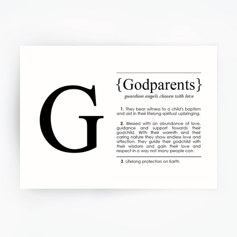 GODPARENTS Definition Art Print Black