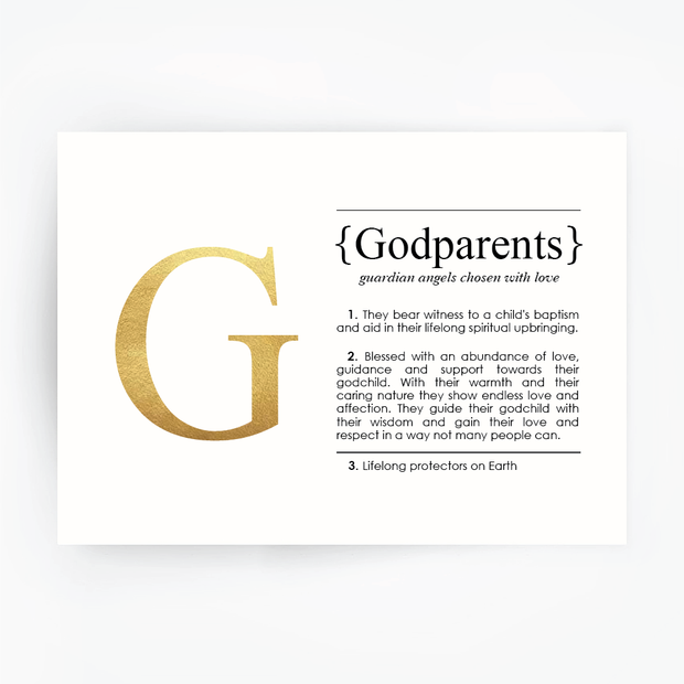 GODPARENTS Definition Art Print Gold Foil