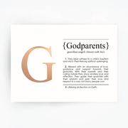 GODPARENTS Definition Art Print Rose Gold Foil