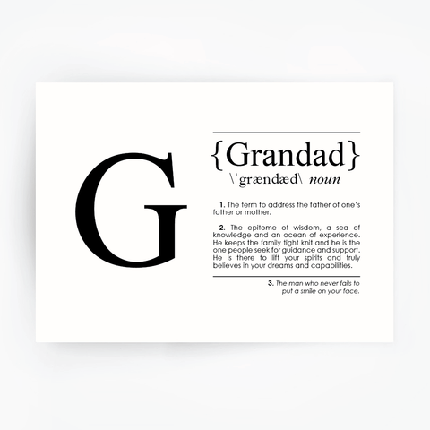 GRANDAD Definition Art Print Black