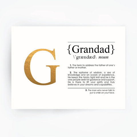 GRANDAD Definition Art Print Gold