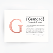 GRANDAD Definition Art Print Rose Gold
