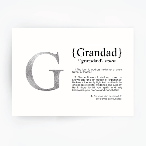 GRANDAD Definition Art Print Silver