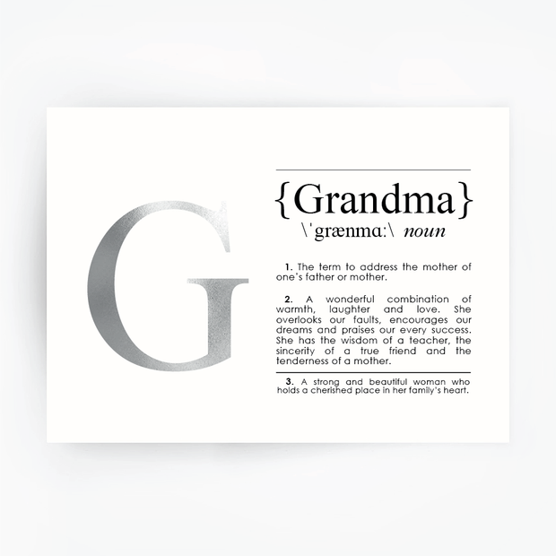 GRANDMA Definition Art Silver Foil Print