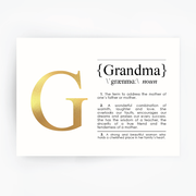 GRANDMA Definition Art Gold Foil Print