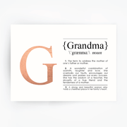 GRANDMA Definition Art Rose Gold Foil Print